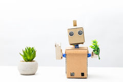 The robot holds a green plant in his hand. White background Royalty Free Stock Images