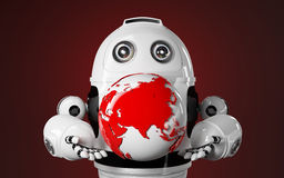 Robot holds red earth globe Stock Images