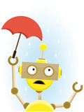 Robot holds small umbrella to protect against rain Stock Images