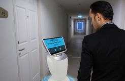 Robot in hotel concept, royalty free stock photos