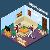 Robot Housewife And Cleaner Professions. Robot professions 3d design concept with artificial housewife and cleaner in isometric home interior vector illustration Royalty Free Stock Image