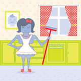 Robot housewife. Standing in the kitchen ready to work Stock Photos