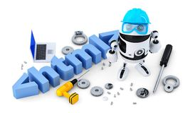 Robot with HTML sign. Technology concept. Isolated. Contains clipping path. Robot with HTML sign. Technology concept. Isolated on white background. Contains vector illustration