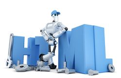 Robot with HTML sign. Technology concept. Isolated. Containsclipping path Stock Image