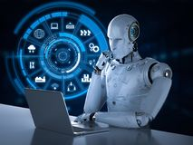 Robot with hud. 3d rendering robot working with hud display Royalty Free Stock Images