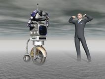 Robot and a human in competition - 3d rendering Stock Photo