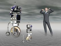 Robot and a human in competition - 3d rendering Royalty Free Stock Image