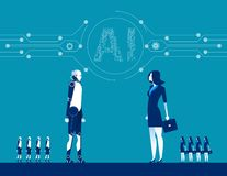 Robot and human. Concept business vector illustration. Flat design style stock illustration