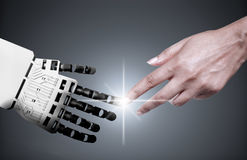 Robot human hand connection Royalty Free Stock Photography