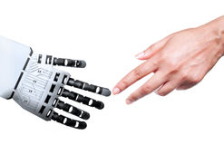 Robot human hand connection Royalty Free Stock Images