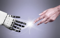 Robot human hand connection Stock Images
