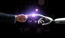 Robot and human hand over virtual projection Royalty Free Stock Photos