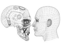Robot and Human Head design - Architect Blueprint - isolated royalty free illustration