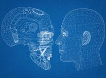 Robot and Human Head design - Architect Blueprint royalty free illustration