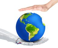 Robot and human hold Earth planet in hand. Stock Images