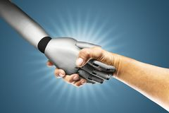 Robot and human holding hands with handshake with blue background. Cyber communication concept. royalty free stock images