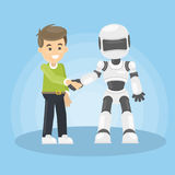 Robot and human. Robot and human shaking hand in greetings vector illustration