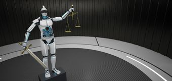 Robot Humanoid Justitia stock de ilustración