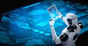 Robot humanoid using tablet computer in concept of AI thinking brain