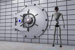 Robot i bank skrytka ilustracji