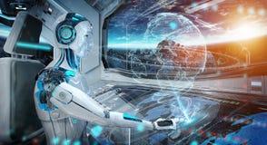 Robot i ett kontrollrum som flyger ett vitt modernt rymdskepp med fönstersikt på utrymme och digital tolkning för jordhologram 3D stock illustrationer