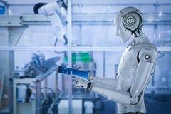 Robot i fabrik stock illustrationer