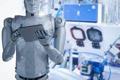 Robot i fabrik royaltyfri illustrationer