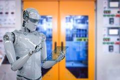 Robot i fabrik vektor illustrationer
