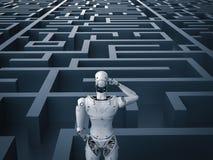 Robot i labyrint Arkivbild