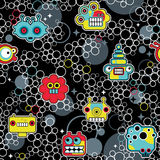 Robot i potwory z bąbla bezszwowym wzorem. Fotografia Royalty Free