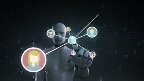 Robot, icône humaine émouvante de cyborg, personnes se reliantes, réseau d'affaires icône sociale de service de médias de gare illustration de vecteur