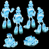 Robot of ice blocks, cartoon character Stock Photos