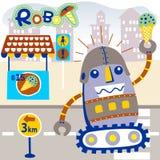 Robot with ice cream. Vector cartoon of happy robot with ice cream. EPS 10 stock illustration