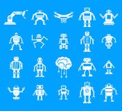 Robot icon blue set vector. Robot icon set. Simple set of robot vector icons for web design  on blue background Royalty Free Stock Photo