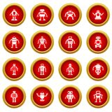 Robot icon red circle set. Isolated on white background Stock Image