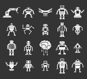 Robot icon set grey vector. Robot icon set vector white isolated on grey background Stock Images