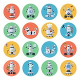 Robot icon set. Machines carrying out different actions automatically, programmable by a computer, helping human. Vector flat style cartoon illustration Royalty Free Stock Photo