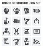 Robot icon set. Robot or robotic vector icon set design Royalty Free Stock Images