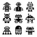 Robot Icon Set. On White Background. Vector Royalty Free Stock Images