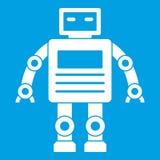 Robot icon white Stock Photography