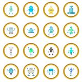 Robot icons circle. Gold in cartoon style isolate on white background vector illustration Stock Photography
