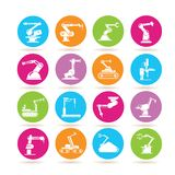 Robot icons. Collection of 16 robot icons in colorful buttons stock illustration