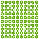 100 robot icons hexagon green. 100 robot icons set in green hexagon isolated vector illustration Stock Images