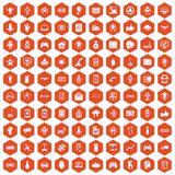 100 robot icons hexagon orange. 100 robot icons set in orange hexagon isolated vector illustration Stock Illustration