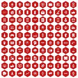 100 robot icons hexagon red. 100 robot icons set in red hexagon isolated vector illustration Stock Photo