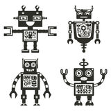 Robot icons. Robots black signs vector Royalty Free Stock Image