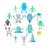 Robot icons set, cartoon style. Robot icons set. Cartoon illustration of 16 robot vector icons for web Stock Image