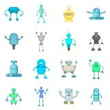 Robot icons set, cartoon style. Robot icons set. Cartoon illustration of 16 robot vector icons for web Stock Images