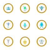 Robot icons set, cartoon style. Robot icons set. Cartoon style set of 9 robot vector icons for web design Royalty Free Stock Image