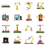 Robot Icons Set. With conveyor mechanic and electronics symbols flat  vector illustration Stock Image